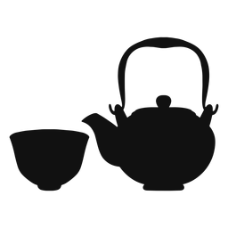 Teapot and cup silhouette