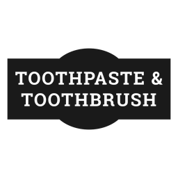 Etiqueta de pasta de dientes y cepillo de dientes