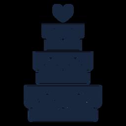 Pastel de boda icono azul
