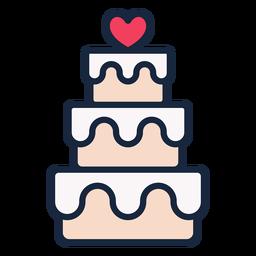 Ícone de traço de bolo de casamento