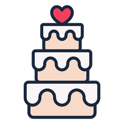 Icono de trazo de pastel de boda