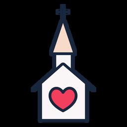 Ícone de traço de igreja casamento