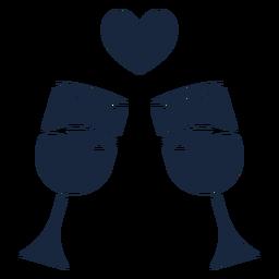 Brindis de boda icono azul