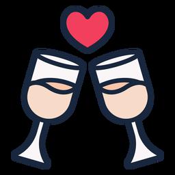 Icono de trazo de brindis de boda