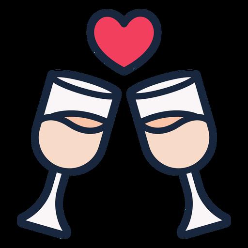 Hochzeit Toast Strich Symbol