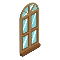 Window arched shaped isometric