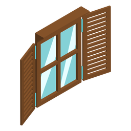 Window with shutters isometric