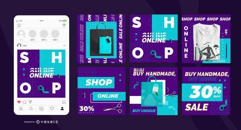 Conjunto de publicaciones sociales de la tienda online hecha a mano