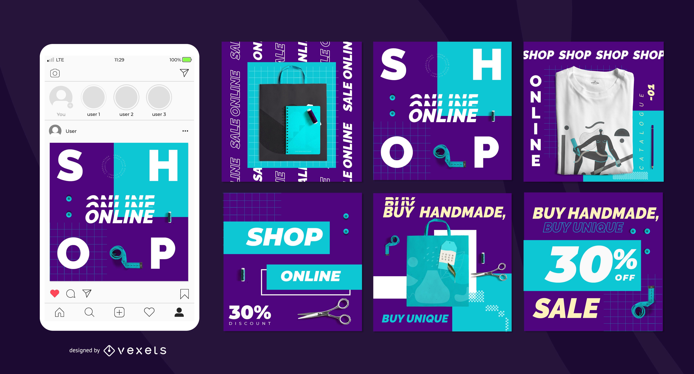 Conjunto de publicaciones sociales hechas a mano para tienda online