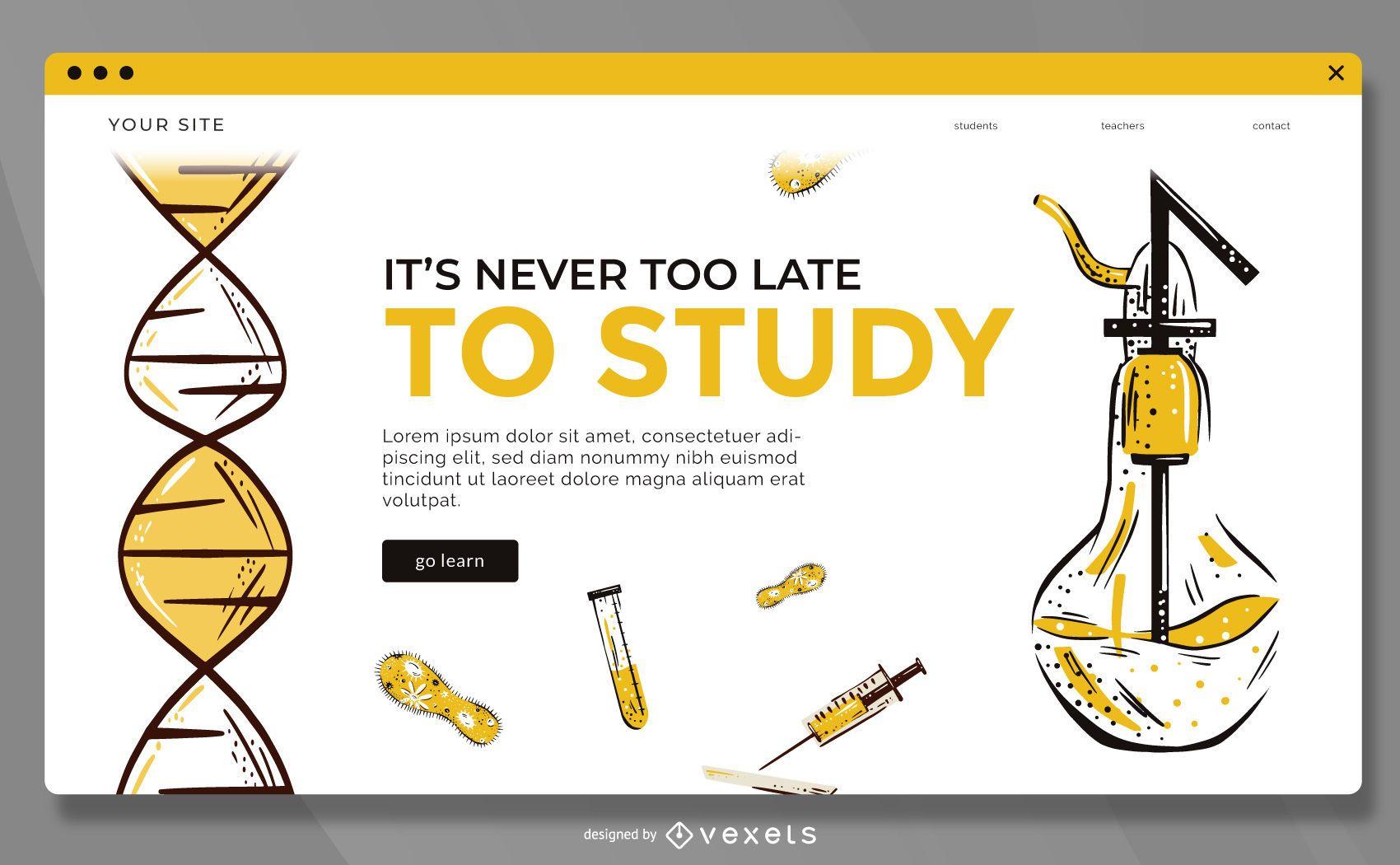Estudiar plantilla de página de destino en línea