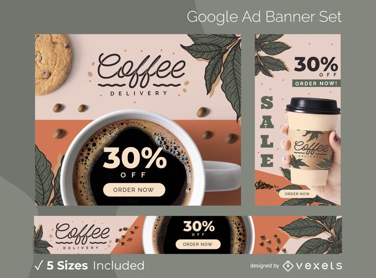 Conjunto de banners publicitarios de entrega de café