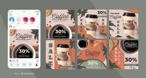 Conjunto de publicaciones de redes sociales de entrega de café