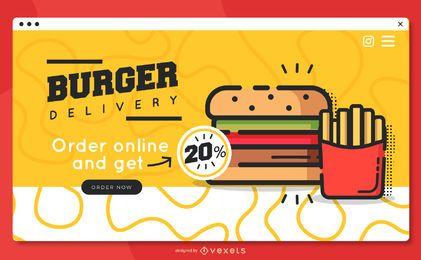 Modelo de página de destino de entrega de hambúrguer