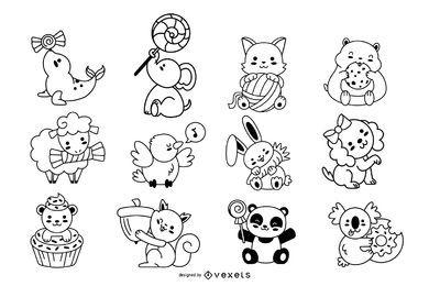 Colección de trazos de animales kawaii
