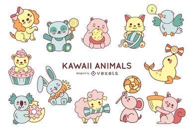 Coleção fofa de animais kawaii