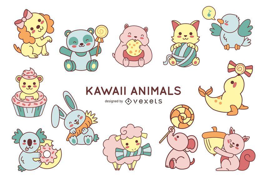 Linda colección de animales kawaii