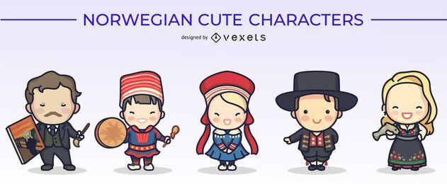 Paquete de diseño de personajes lindos noruegos