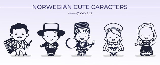 Norwegian Cute Character Stroke Design Pack
