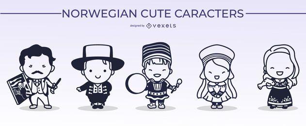 Paquete de diseño de trazo de personaje lindo noruego
