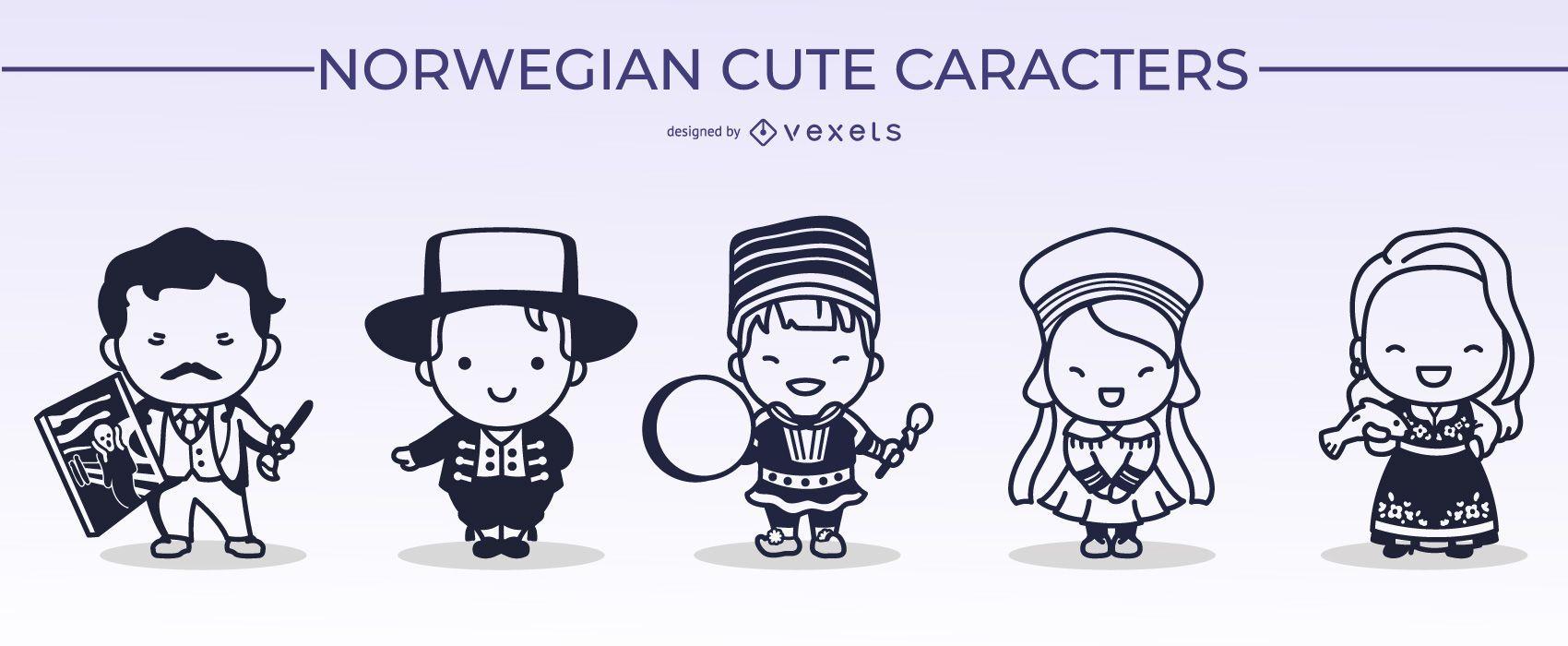 Norwegian Cute Character Stroke Design Pack