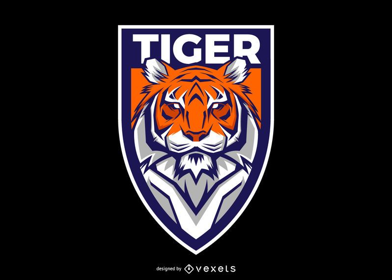 Design de logotipo de escudo de tigre
