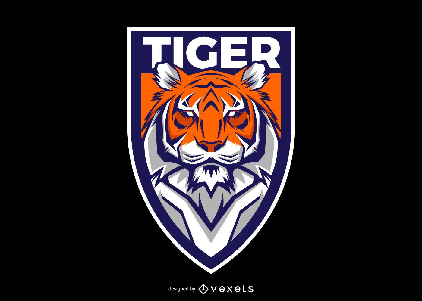 Diseño de logotipo de escudo de tigre
