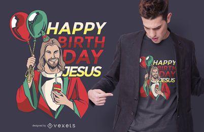 Diseño de camiseta de cumpleaños de Jesús de Navidad