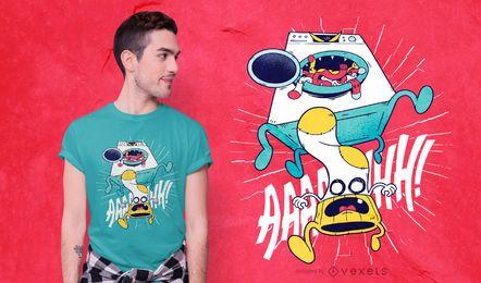 Design de camiseta de monstro de máquina de lavar