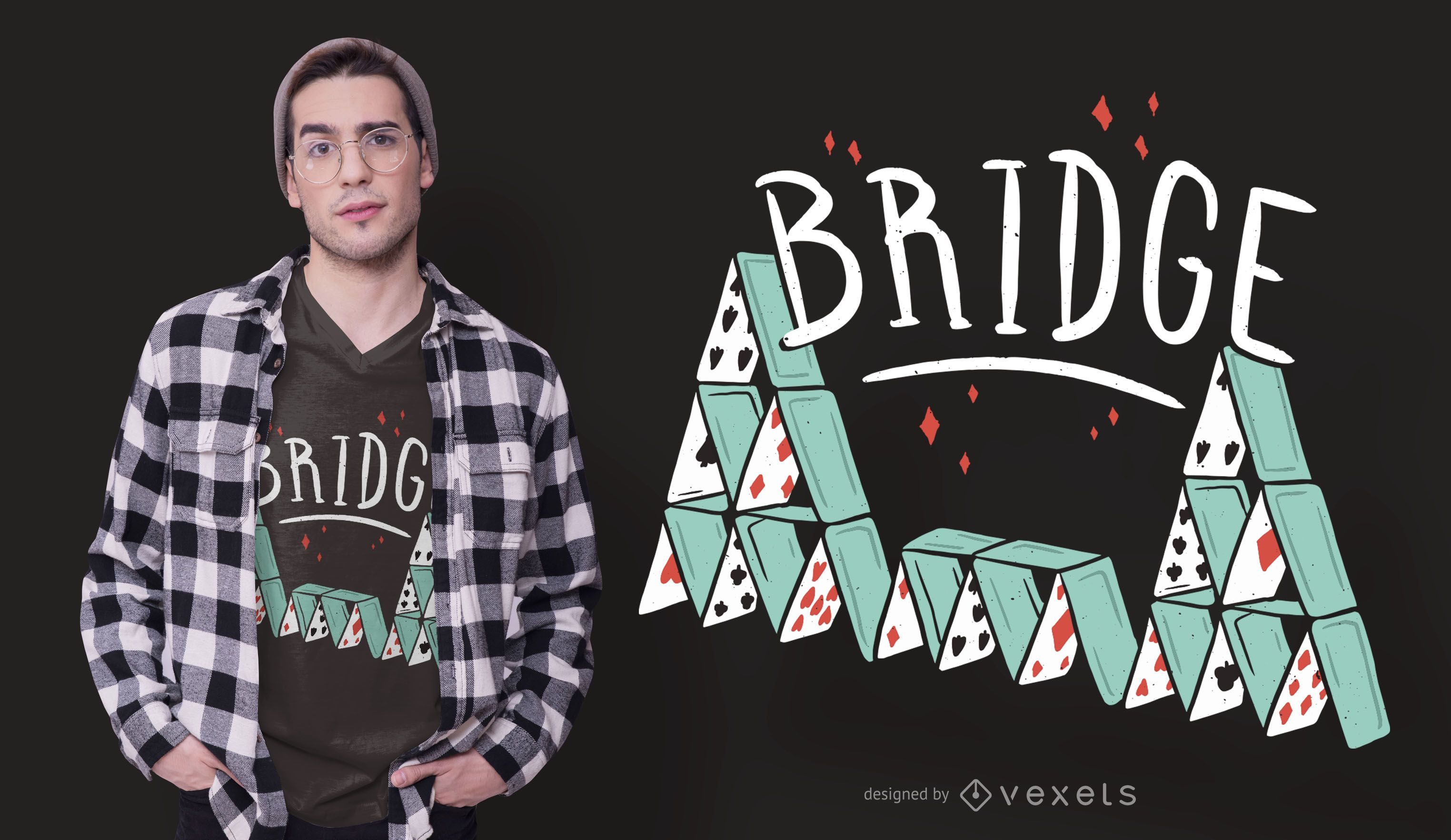 Bridge Cards Text T-shirt Design