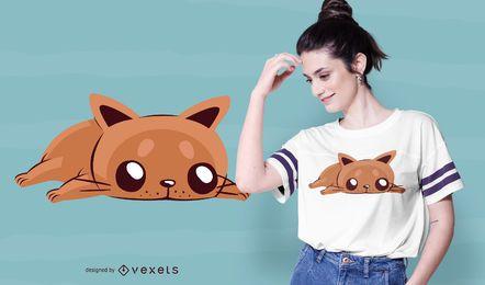 Diseño de camiseta de gato aburrido