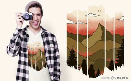 Diseño de camiseta de paisaje recortado
