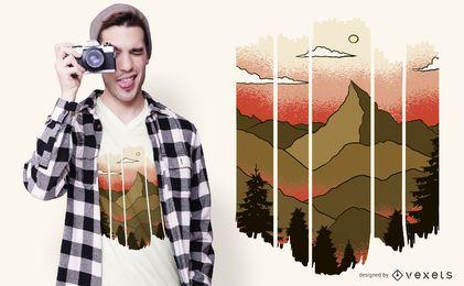 Projeto cortado do t-shirt da paisagem