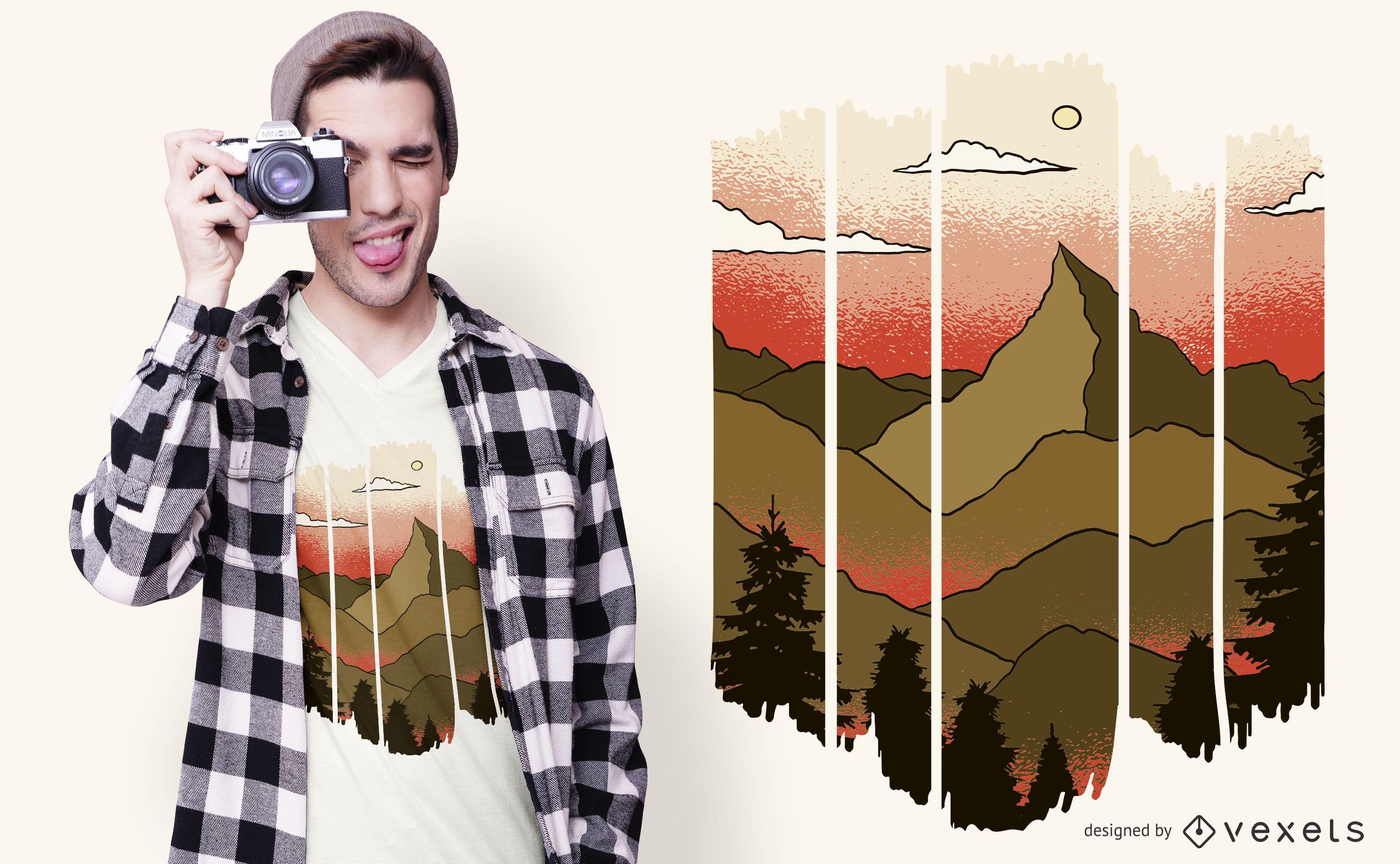 Cut Out Landscape T-shirt Design
