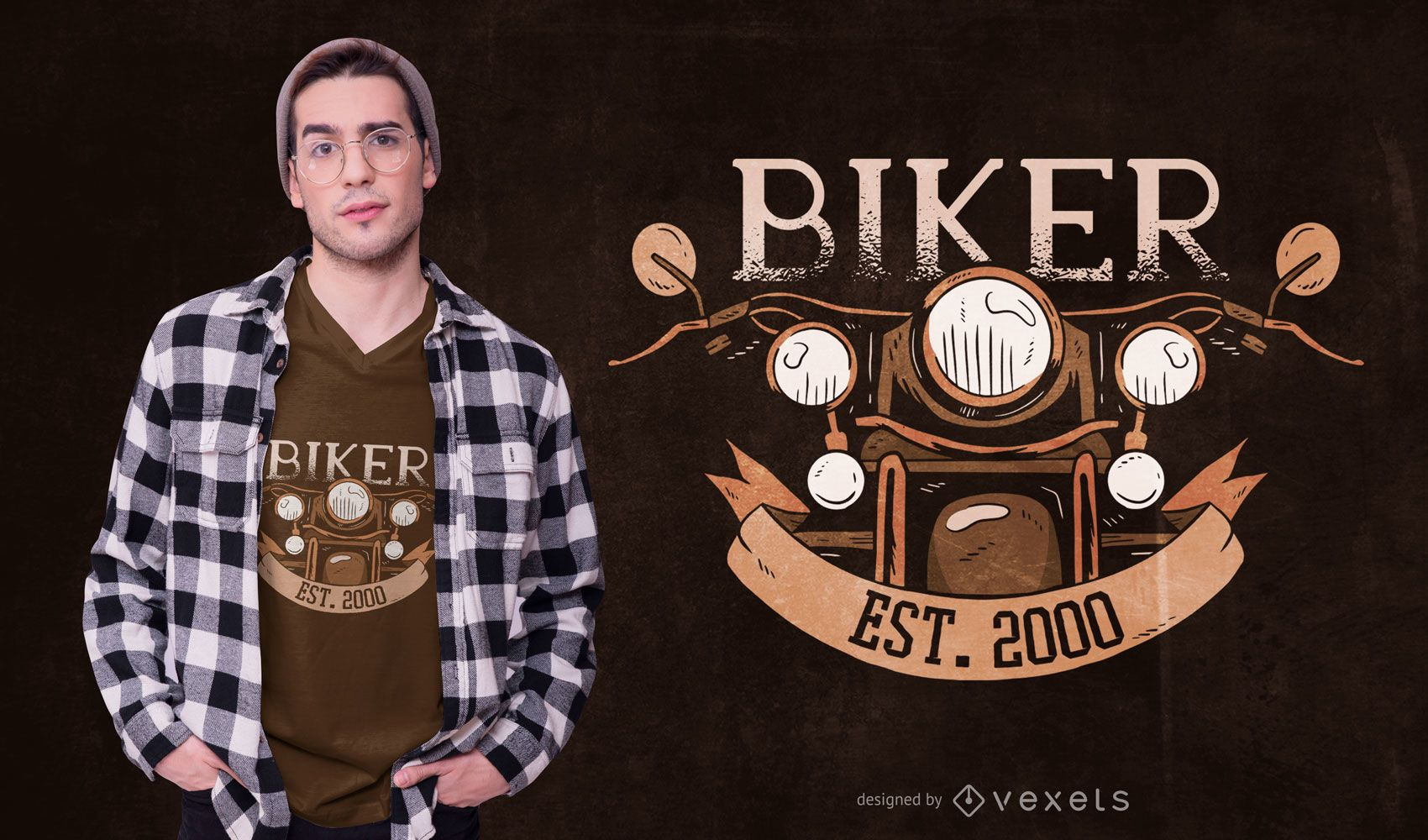 Vintage Biker Text T-shirt Design