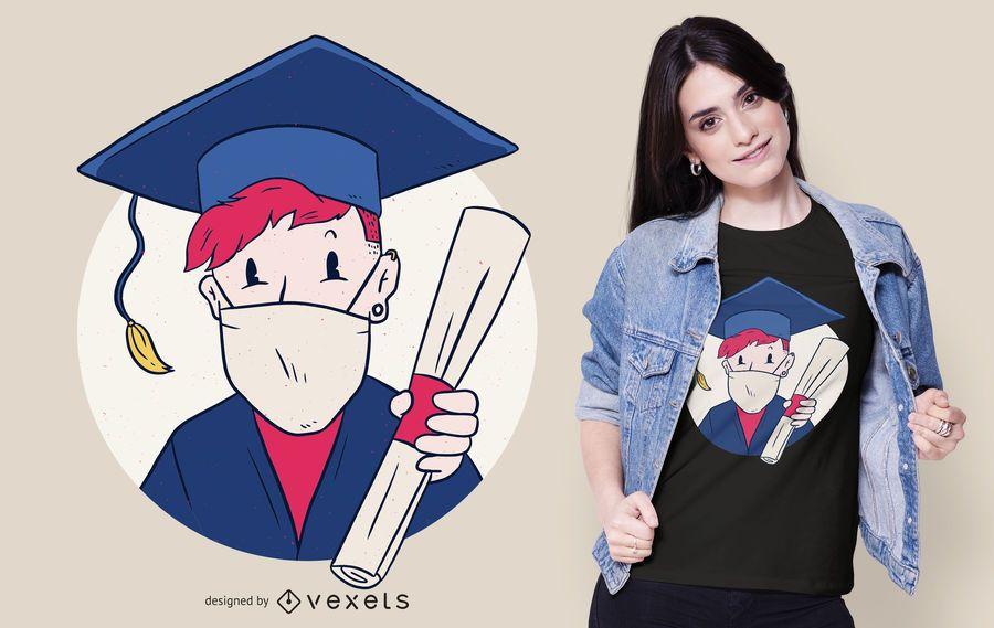 Diseño de camiseta graduada de mascarilla