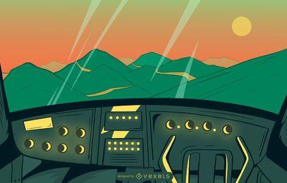 Ilustración de paisaje de vista de cabina