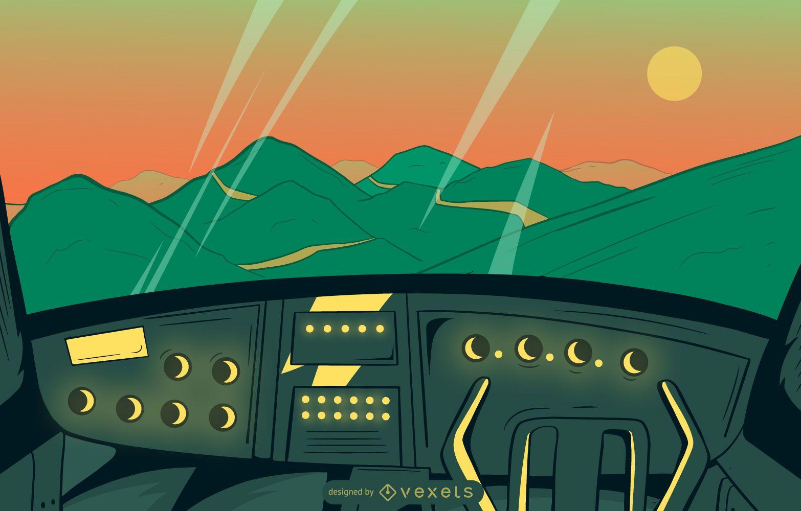 Cockpit View Landscape Illustration