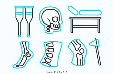 Pacote de ícones de linha de fisioterapia