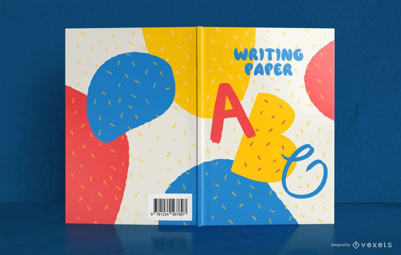 Design de capa de livro para crianças escrevendo
