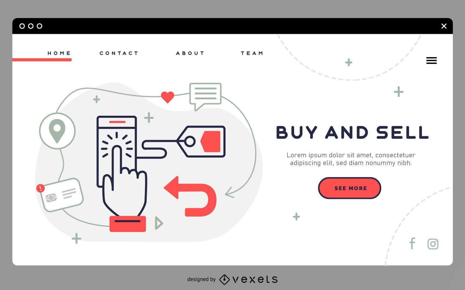 Compre e venda modelo de página de destino