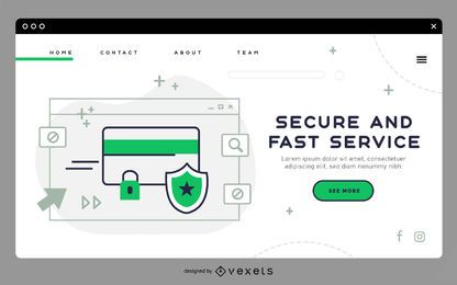 Secure service landing page template