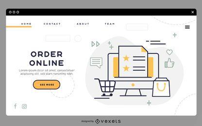 Modelo de página de destino online de pedido