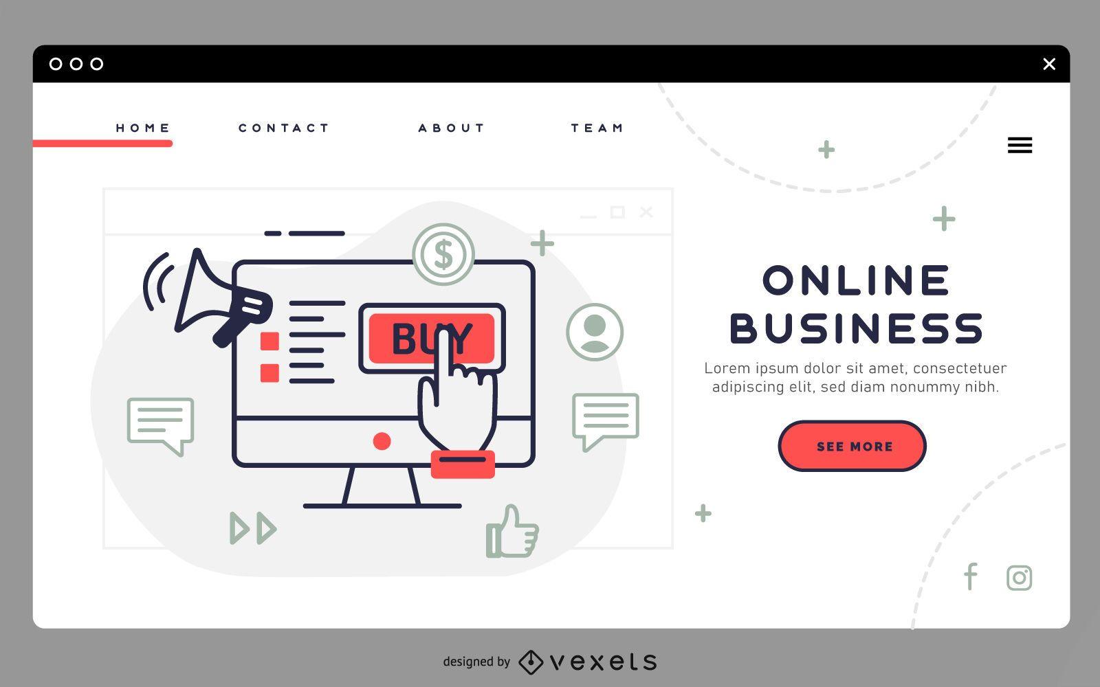 Modelo de página de destino de negócios online