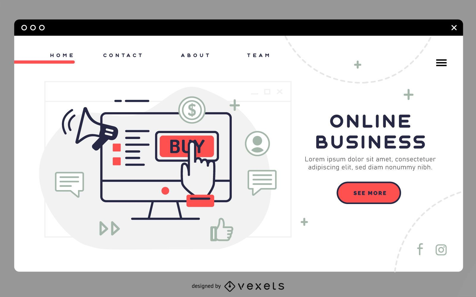 Online business landing page template