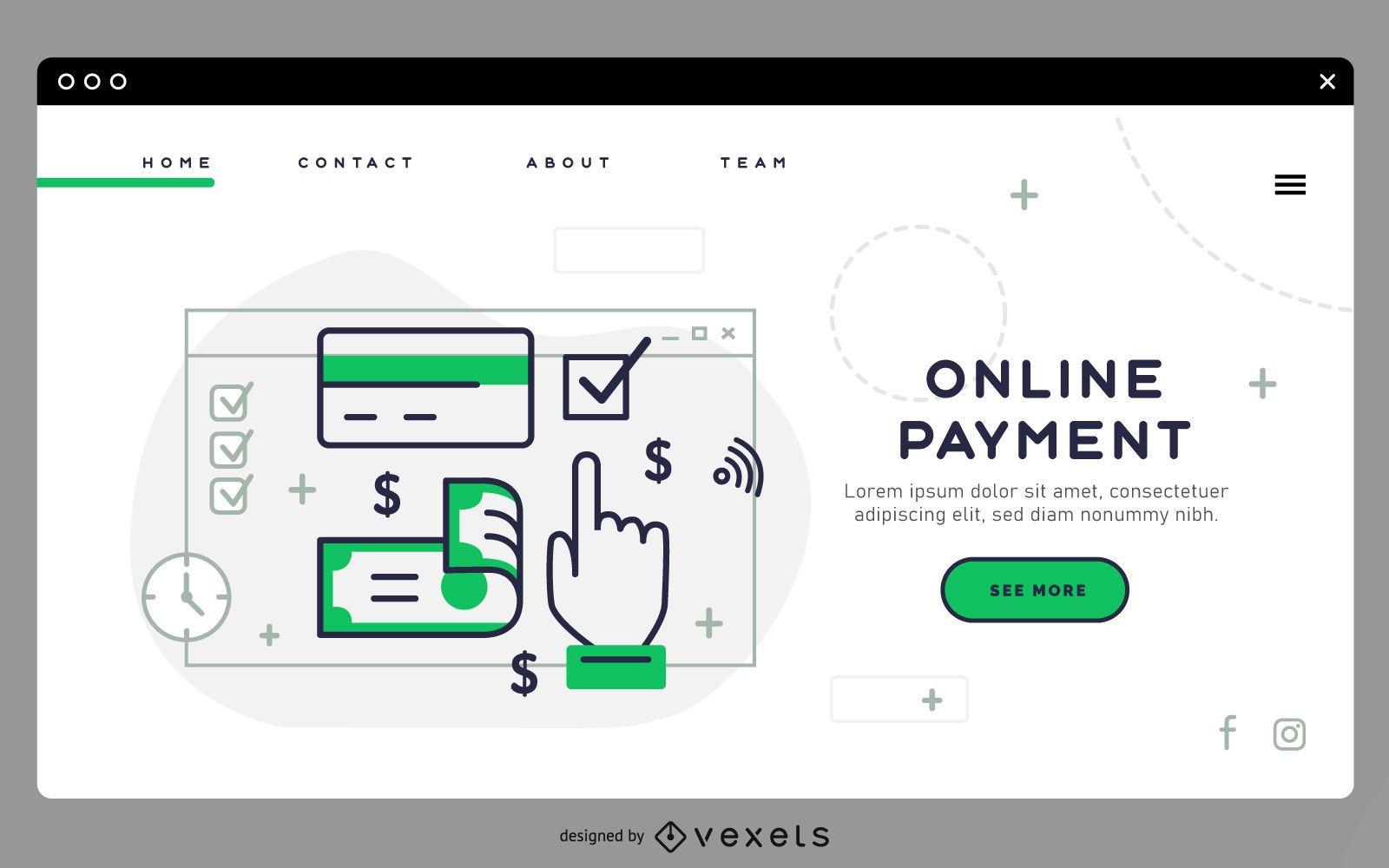 Modelo de página de destino de pagamento online