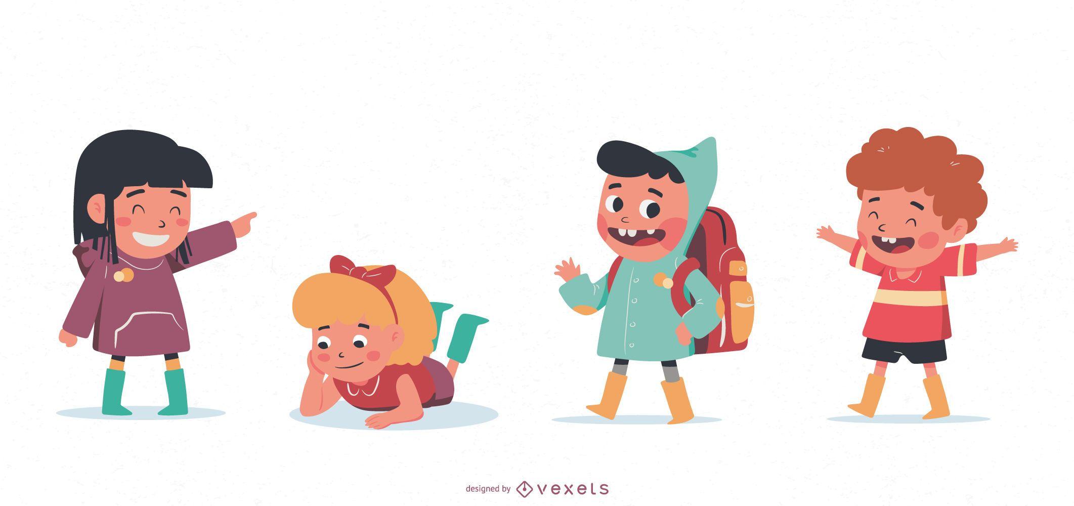 Conjunto de caracteres de niños lindos
