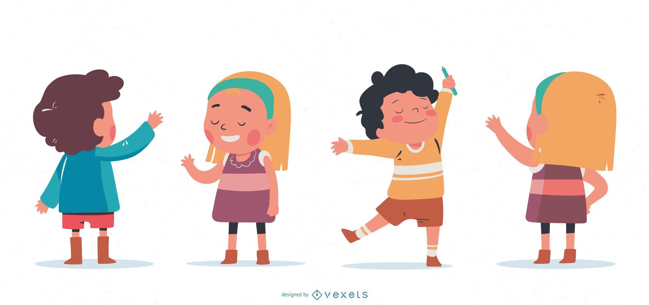 Conjunto de personagens acenando para crianças