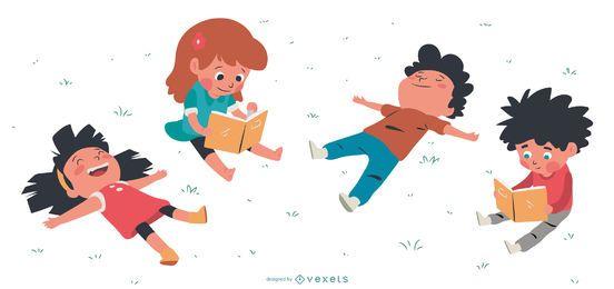 Conjunto de personagens descansando crianças
