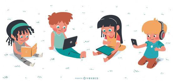 Conjunto de caracteres de hobbies para crianças