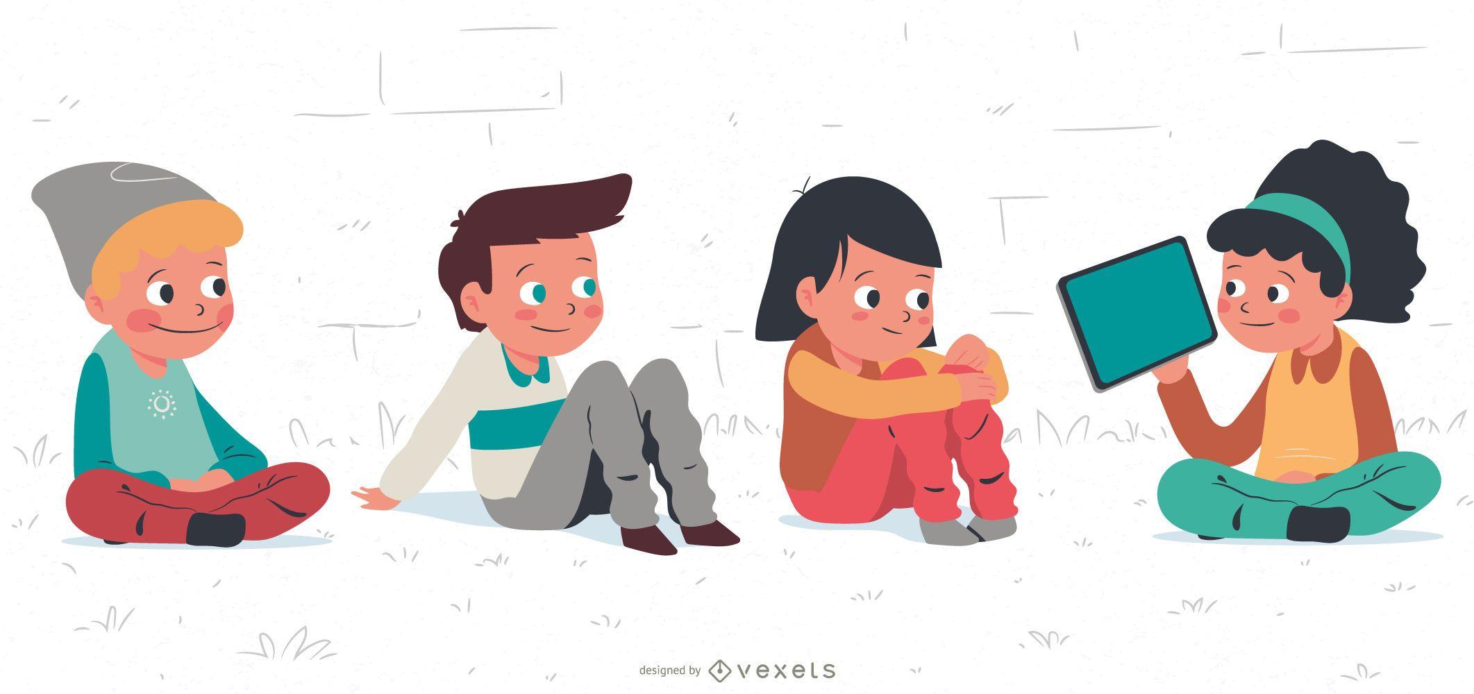 Kids Chatting Cartoon Character Set